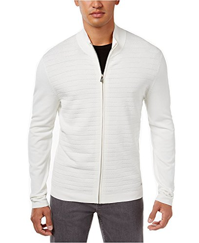 Alfani Men's Quilted-Front Zip Cardigan (Large, Washed White) from Alfani