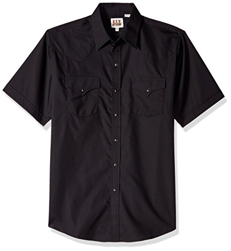 Ely & Walker Men's Short Sleeve Solid Western Shirt, Black, XX-Large (Black Walker Snap)