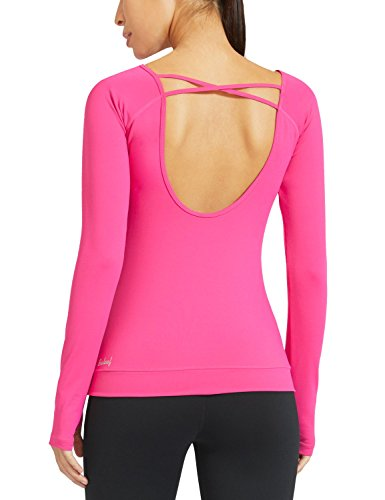 Baleaf Women's Cowl Back Long Sleeve Workout Yoga Shirts Tee Hot Pink Size M