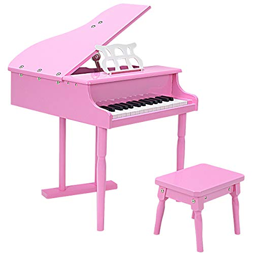 (Goplus Classical Kids Piano, 30 Keys Wood Toy Grand Piano w/ Bench, Mini Musical Toy for Child (Pink))