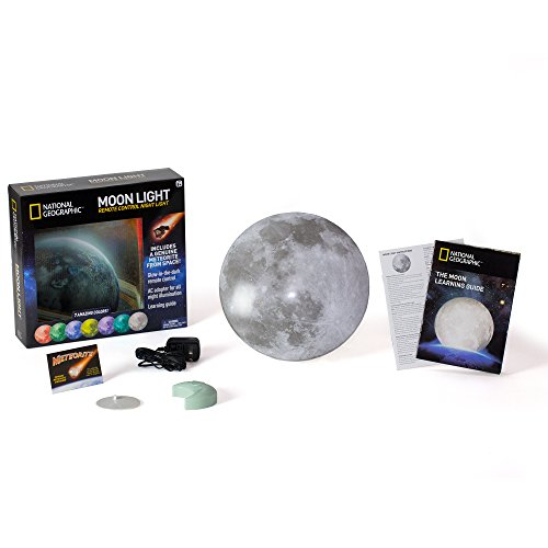 NATIONAL GEOGRAPHIC Moon Night Light for Children with AC adapter and Sleep Timer – Realistic 3D Moon Face Glows with 7 Awesome Color Settings! Comes with a 1-year Manufacturer's Warranty
