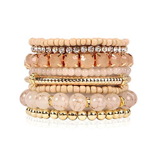 - RIAH FASHION Multi Color Stretch Beaded Stackable Bracelets - Layering Bead Strand Statement Bangles (Original - Light Brown, 7)