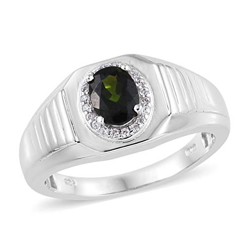 (925 Sterling Silver Platinum Plated Chrome Diopside Zircon Promise Ring for Mens Jewelry Fathers Day Gifts Size 12 Cttw 6.2)