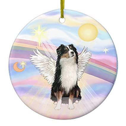 christmas tree decorations clouds australian shepherd angel tri ceramic ornament circle round christmas ornament