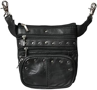 Leather Clip Pouch Purse with Shoulder Strap and Beltloop Clips, Hands Free Hip or Fanny Pack for Women & Men, by Bayfield Bags