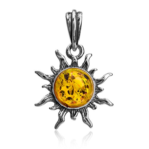 Ian and Valeri Co. Amber Sterling Silver Small Sun Pendant Amber Sun Amber Necklace