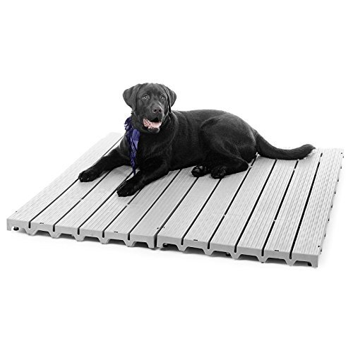 Top Rated Kennel Deck with Raised Herringbone Texture, Weather-Resistant, Keeps your Pet Warmth & Dry (Kennel Deck)