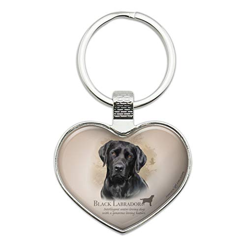 Black Lab Labrador Dog Breed Heart Love Metal Keychain Key Chain Ring