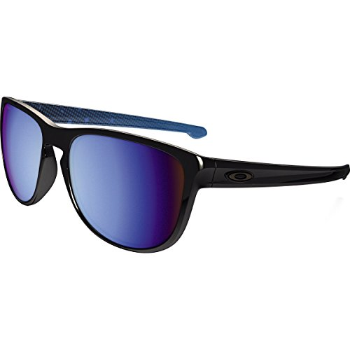 Oakley Men's Sliver Polarized Iridium Rectangular Sunglasses, Polished Black w/Prizm Deep Water Polarized, 57 mm ()