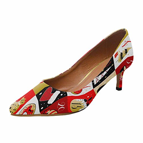 InterestPrint Womens Low Kitten Heel Pointed Toe Dress Pump Shoes Calendar With Christmas Elements Multi 1 eYwUXy