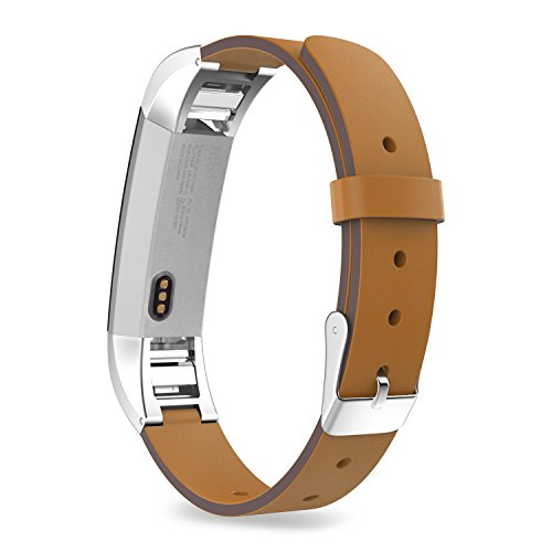 205 Leather - MoKo Fitbit Alta HR and Alta Band , Premium Soft Genuine Leather Replacement Wristband Strap for Fitbit Alta / Fitbit Alta HR Smart Fitness Tracker, Fits 5.31
