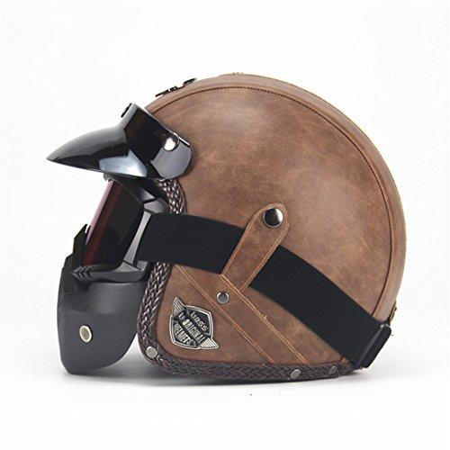 Manufanoongs PU Leather Helmet Harley Moto Motorcycle Helmet Vintage Motorcycle Motorbike with Mask VS Old Brown 2 L (Open Face Vs Full Face Motorcycle Helmets)