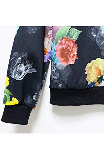 Giacca Modern Cappotto Autunno Di Cute Fiore Elegante Fit Lunga Manica Con Slim Stile Stampa Black1 Moda Giaccone Fashion Vintage Cerniera Chic Primaverile Donna Casual dAqSfCdw