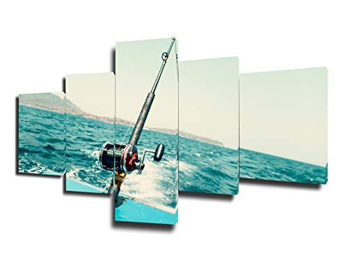 Art Work for Home Walls Metal Fishing Trolling Reel Paintings for Bedroom Ocean Ocean Angling Pictures House Decor 5 Panel Canvas Wall Art Giclee Framed Ready to Hang Posters and Prints(50''Wx24''H)