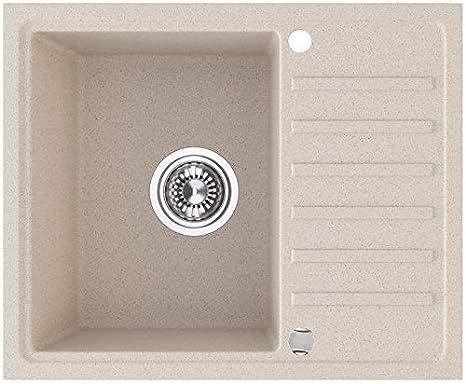 VBChome Spüle 56 x 46 cm beige Granit Spülbecken Einzelbecken Küche  Einbauspüle Verbundspüle Küchenspüle gesprenkelt reversibel + Drexexcenter  + ...