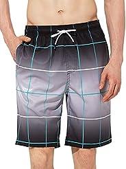 Zentrex Mens Swim Trunks Beach Shorts 9 Inches Quick Dry Beach Swimwear with Zipper Pockets
