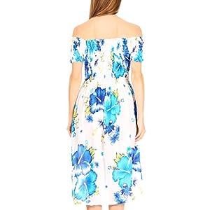 Sakkas Nur Women's Smock Elastic Cocktail Midi Sleeve Off Shoulder Floral Dress