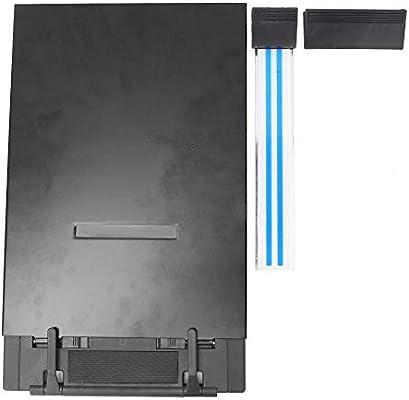 Portadocumentos de escritorio de acero inoxidable negro con férula y bolsa de polipropileno, caja de papel: Amazon.es: Oficina y papelería