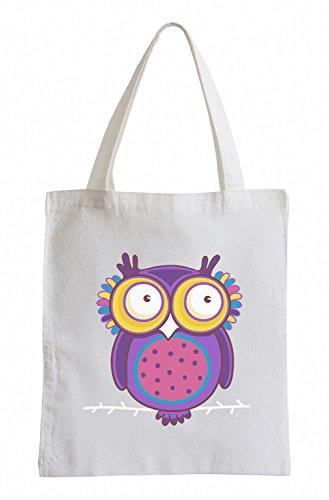 Raxxpurl Colourful Owl Fun sacchetto di iuta