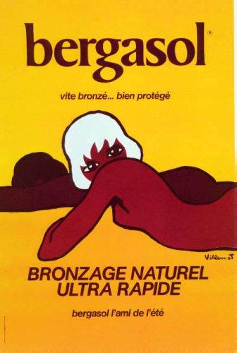 WONDERFULITEMS BERGASOL Girl Sun Tanning Beach Bronze French Large Vintage Poster REPRO