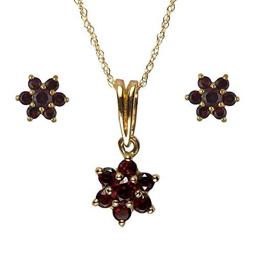 Parure collier et boucles d'oreilles - 186P0182 - 1 - Femme - Or Jaune 375/1000 (9 Cts) 2.071 Gr - Grenat
