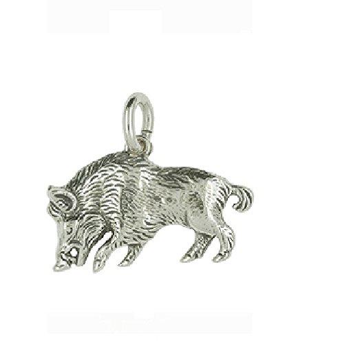 Nora S Argent Sterling 925Chaînes-Pendentif motif animal Sanglier