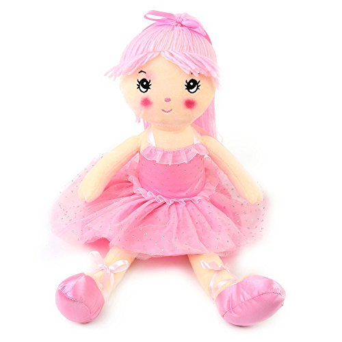 Wewill Pink Ballerina Stuffed Girl Plush Doll Adorable and Cuddly Gift for Girls on Easter Birthday, 18 inch