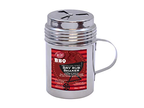 Tablecraft 10 oz, Silver Stainless Steel Dry Rub Shaker with Handle, 10-Ounce ()