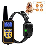Amorlla Dog Training Collar, 2600ft Remote Dog Shock Collar, IPX7 Waterproof and Rechargeable bark Collar with 0~99 Levels Beep/Vibration/Shock Collar for Small Medium Large Dogs