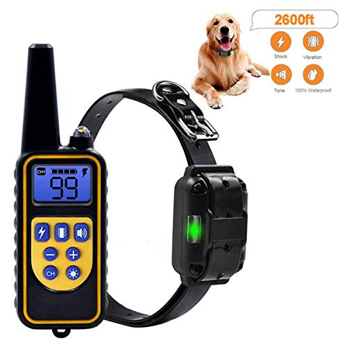 (Nice Dream Amorlla Dog Training Collar, 2600ft Remote Dog Shock Collar, IPX7 Waterproof and Rechargeable bark Collar with 0~99 Levels Beep/Vibration/Shock Collar for Small Medium Large Dogs)