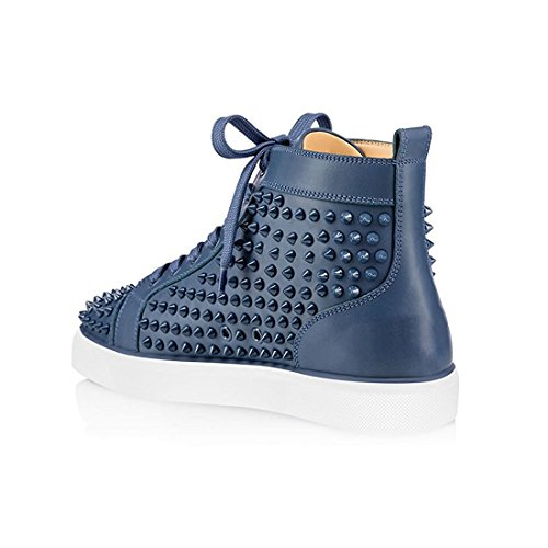 Cuckoo Men Rivet High-Top Shoes Fashion Sneakers Boots Blue wCy3uM
