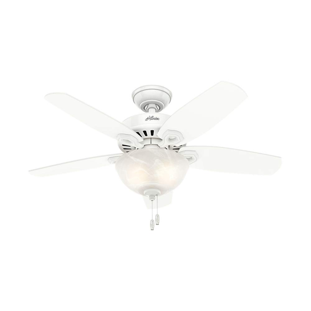 Hunter Indoor Ceiling Fan with light and pull chain control – Builder 42 inch, White, 52217