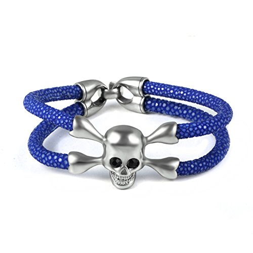 Stingray Leather Bracelet silver Skull With White Zircon men's Fashion Genuine stingray skin bracelet Bangle (Blue)