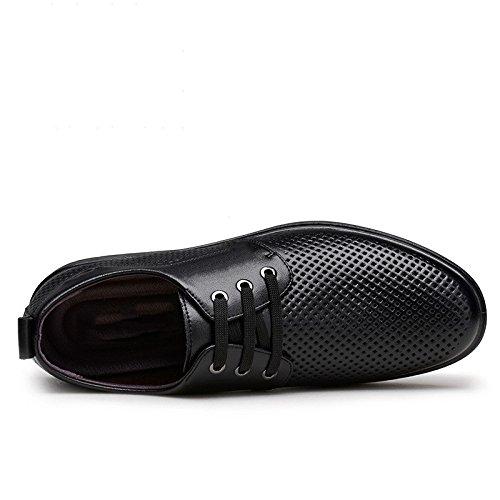 Hombres Los Sandalias Black Negocios Zapatos Cuero De Huecos Yxlong La Verano Transpirables Marea xwUBpCIq