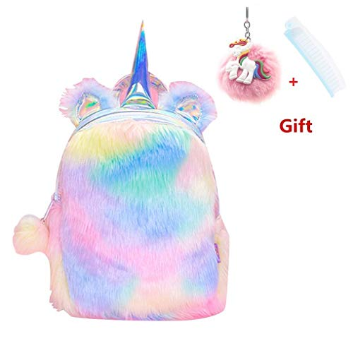 - Fanovo Cute Plush Unicorn Backpack, Mini Unicorn Backpack, 3D Unicorn Backpack, Soft Rainbow Backbag Sweet Girls Daughter Gifts 12 inch Bag (Style 2)