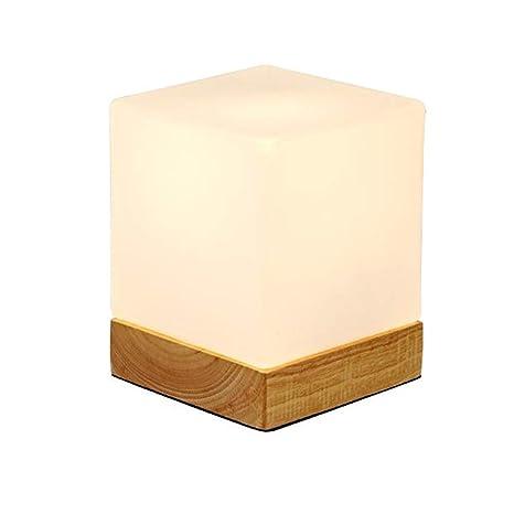 Injuicy Mini Cube Table Lamps Glass Shade Wooden Base Morden Bedside Desk Lamp For Bedside Bedroom Living Dining Room Cafe Bar Hallway Decor