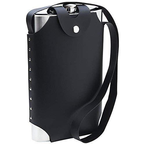 Maxam KTFLSH64 64 oz Stainless Steel Flask with Sheath, Jumbo, Black
