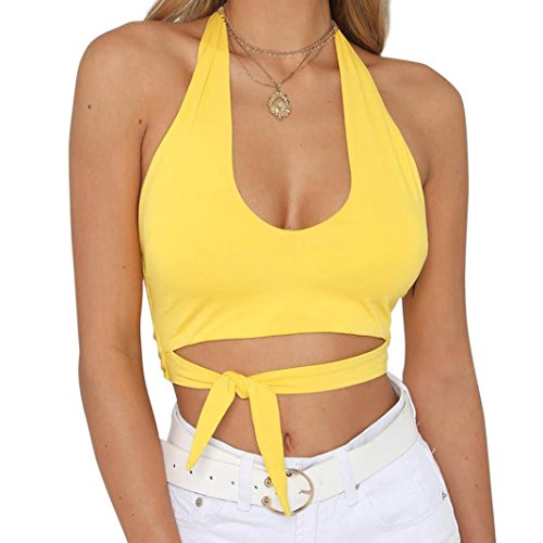 Affliction Short Sleeve Polo Shirt - Hot Sales!Women Vest,Caopxx Ladies Summer Blouse Sleeveless V-Neck Sling Camis Tops Shirt (Asia Size L=US Size M, Yellow)