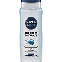 NIVEA Men Pure Impact 3-in-1 Body Wash 16.9 Fluid Ounce (Pack of 3)
