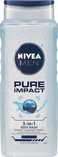 NIVEA Men Pure Impact 3-in-1 Body Wash 16.9 Fluid Ounce (Pack of 3) (3 In 1 Green Coffee Bean compare prices)
