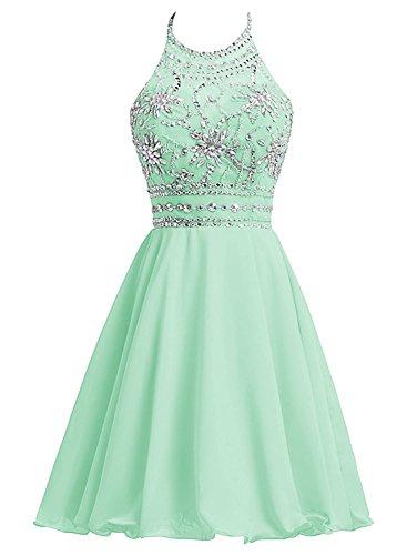 Aiyi Junior Beads Halter Neck Chiffon Short Homecoming Dress Evening Party Gown Mint Green US6 -