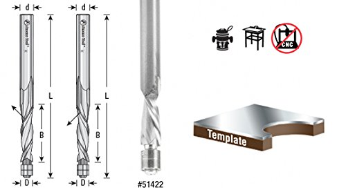 Amana Tool 51422 Solid Carbide Aluminum Flush Trim Up-Cut 1/4 D x 1/2 Cut Length x 1/4 SHK x 2-1/2 Inch Long Router Bit