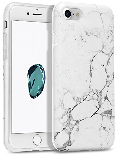Price comparison product image iPhone 7 Case,  GMYLE [IMD Design] White Marble Slim Flexible Soft Smooth Rubber Silicone TPU Protective Cover Case for iPhone 7 4.7 inch - White Marble II