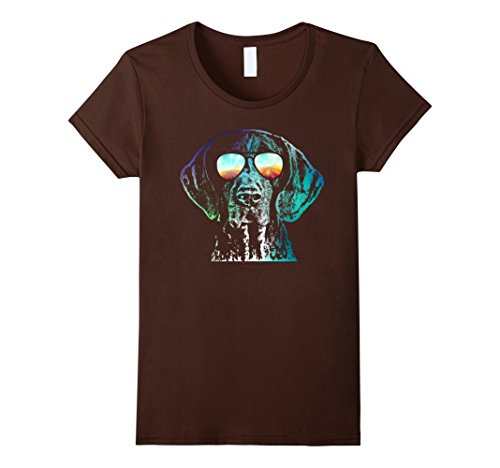 Womens German Shorthaired Pointer Neon Dog Shirt Large Brown (Pointer Shorthair)