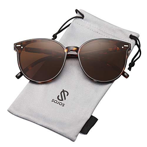 (SOJOS Classic Round Retro Plastic Frame Vintage Inspired Sunglasses BLOSSOM SJ2067 with Tortoise Frame/Gradient Brown Lens)