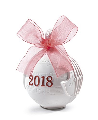 Lladro 2018 Red Porcelain Christmas Ball Ornament