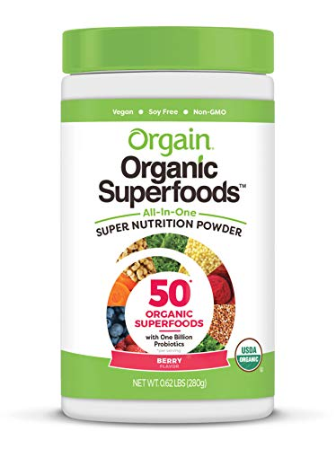 (Orgain Organic Green Superfoods Powder, Berry - Antioxidants, 1 Billion Probiotics, Vegan, Dairy Free, Gluten Free, Kosher, Non-GMO, 0.62 Pound (Packaging May Vary))
