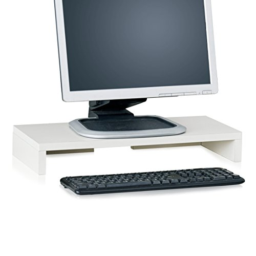 Way Basics Computer Monitor Stand, TV PC Laptop Computer Screen Stand Riser, Desktop Stand Storage Organizer 9.8 L x 19.7 W x 3.1 H, White (Made from eco-Friendly Non Toxic zBoard paperboard)