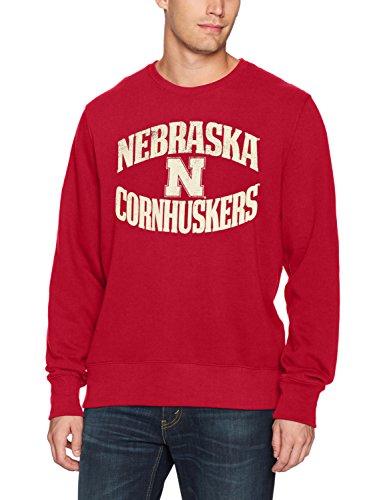 NCAA Nebraska Cornhuskers Adult Men NCAA Men's Ots Fleece Crew Distressed, Medium, Red