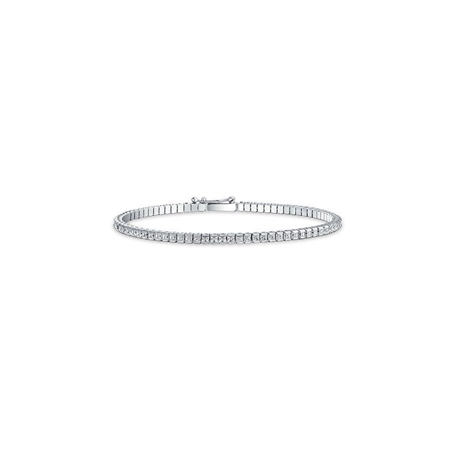 925 Silver Anklet Princess Cut CZ Tennis Ankle Bracelet 9in